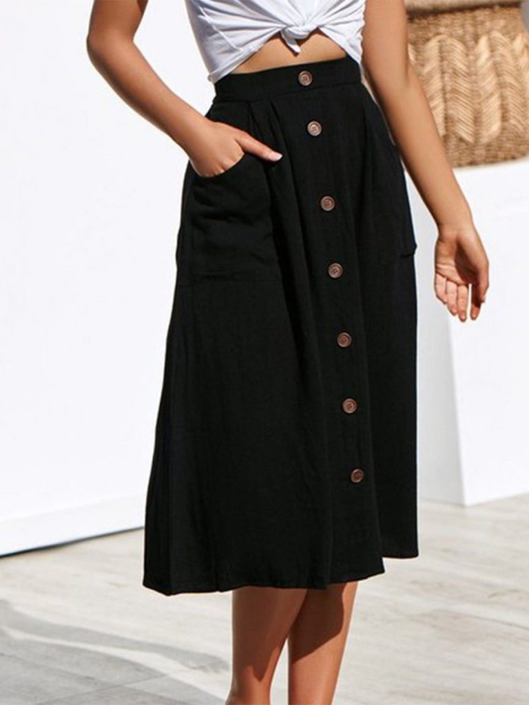 Button Front Pocket Casual Skirt