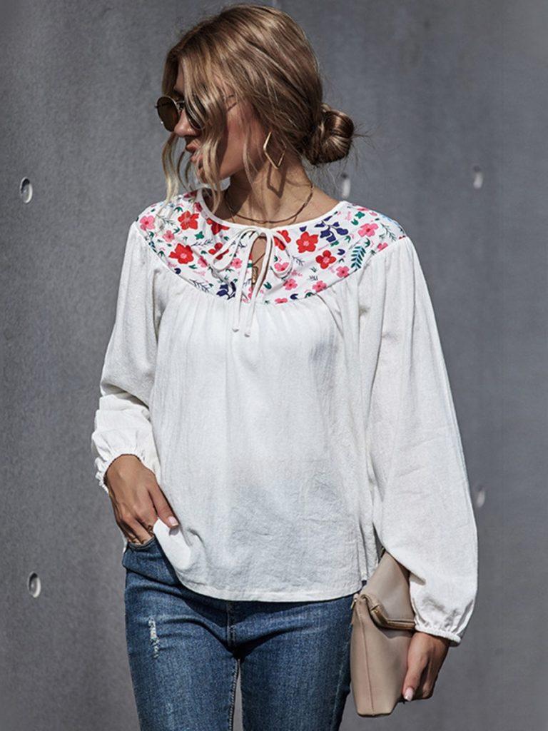 Doll Collar Flower Trim Linen Blouse Top