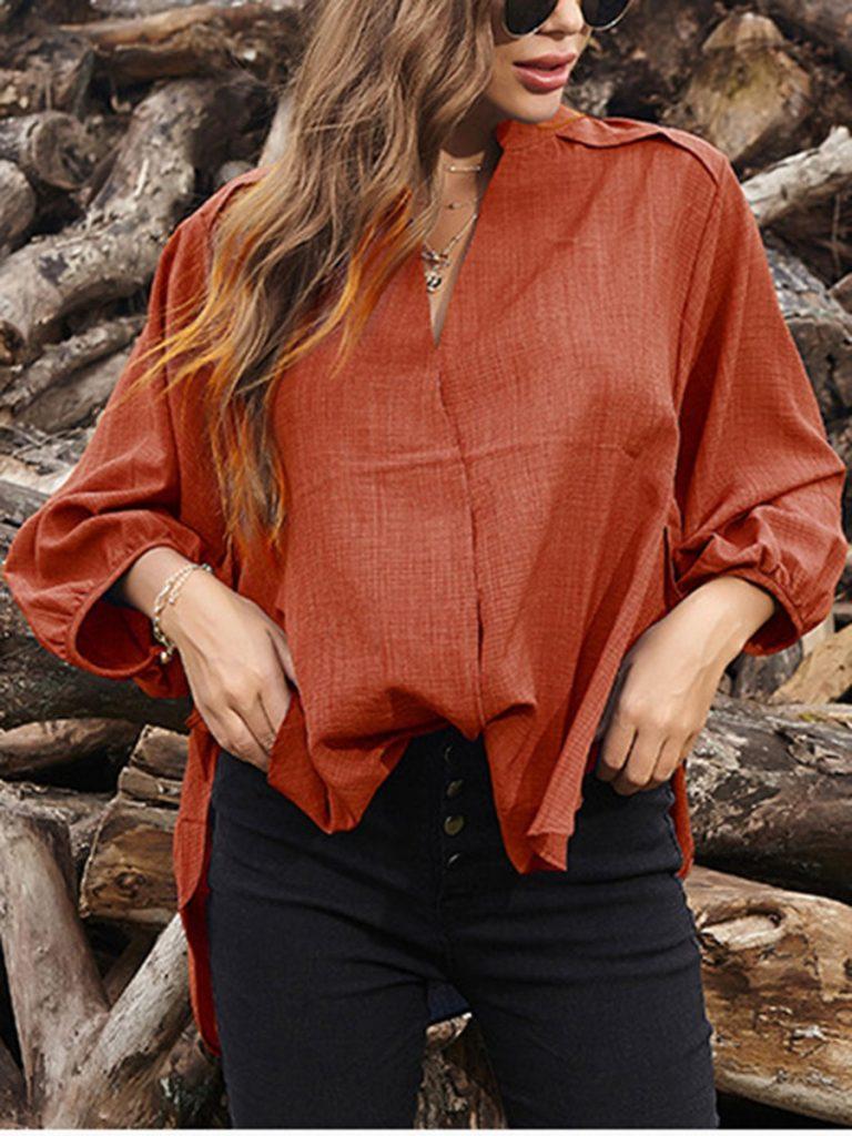V-collar Asymmetrical Hem Plain Shirt
