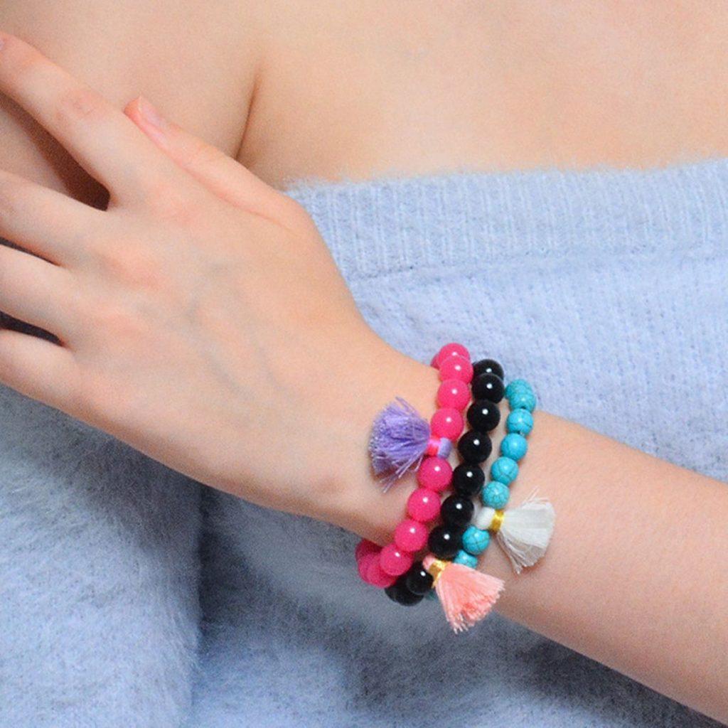 Acrylic Beads Turquoise Tassel Bracelet
