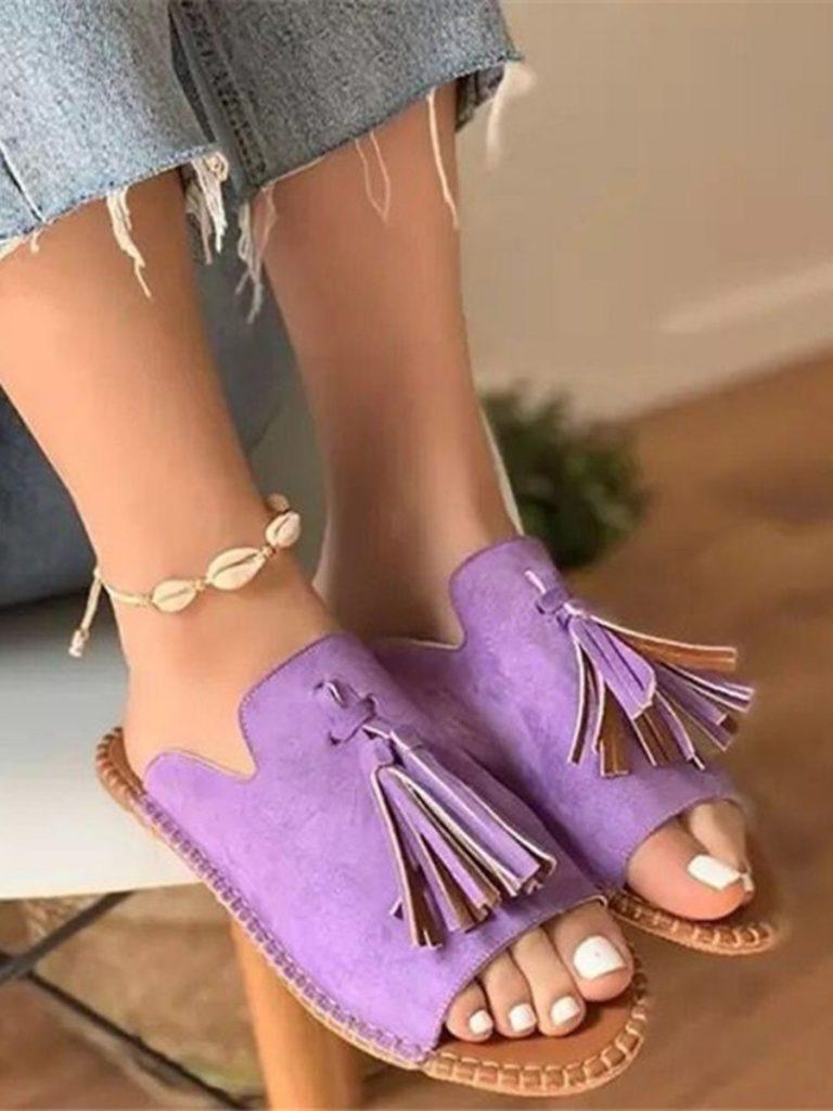 assel Decor Suede Sandals Beachwear